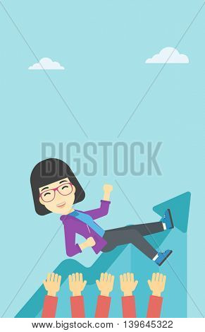 An asian young business woman get thrown into the air by coworkers during celebration. Successful business concept. Vector flat design illustration. Vertical layout.