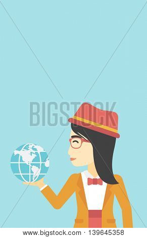 An asian  young business woman holding Earth globe in hand. Concept of global business. Vector flat design illustration. Vertical layout.