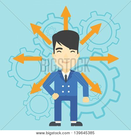 An asian  man with many arrows around his head standing on background with cogwheels. Concept of career choices. Vector flat design illustration. Square layout.