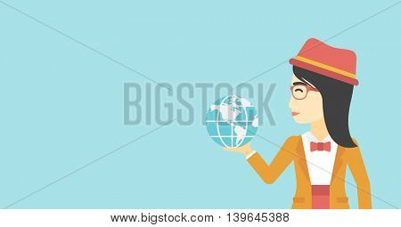 An asian  young business woman holding Earth globe in hand. Concept of global business. Vector flat design illustration. Horizontal layout.