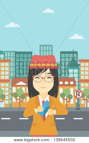 An asian  young business woman putting an envelope in her pocket on a city background. Vector flat design illustration. Vertical layout.