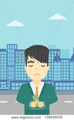 An asian  young businessman in handcuffs with money in hands on the background of modern city. Businessman handcuffed for crime. Vector flat design illustration. Vertical layout.