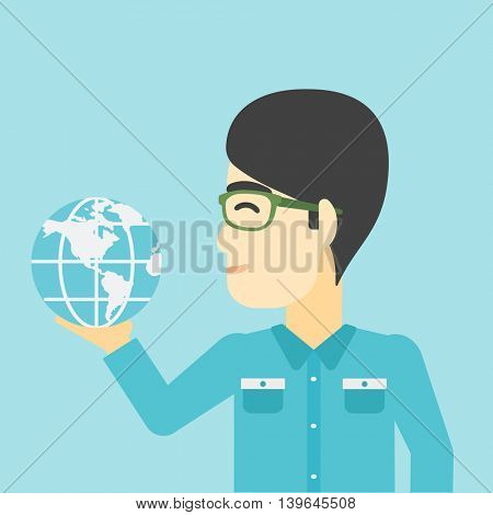 An asian  young businessman holding Earth globe in hand. Concept of global business. Vector flat design illustration. Square layout.