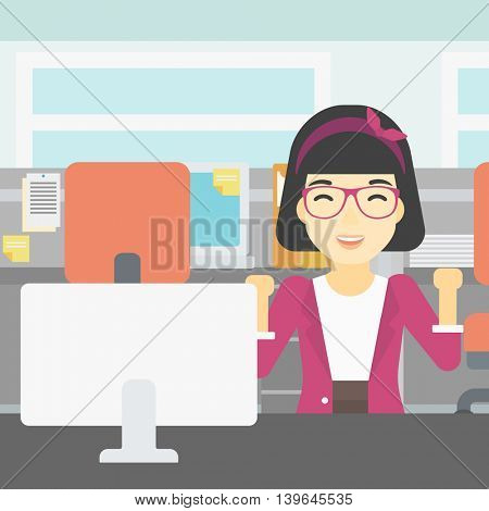 An asian young smiling business woman sitting at workplace in office and celebrating. Successful business concept. Vector flat design illustration. Square layout.