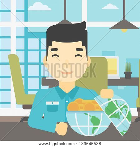 An asian  young businessman sitting at the table in office with a Earth globe full of gold coins. Concept of global business. Vector flat design illustration. Square layout.