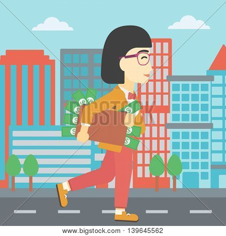 An asian  young business woman walking in the city with suitcase full of money. Vector flat design illustration. Square layout.