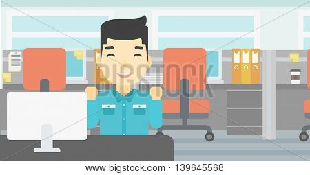 An asian young smiling businessman sitting at workplace in office and celebrating. Successful business concept. Vector flat design illustration. Horizontal layout.
