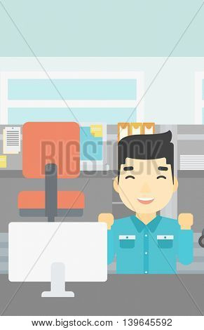 An asian young smiling businessman sitting at workplace in office and celebrating. Successful business concept. Vector flat design illustration. Vertical layout.