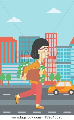 An asian  young business woman walking in the city with suitcase full of money. Vector flat design illustration. Vertical layout.