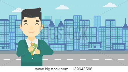 An asian  young businessman putting money in his pocket on a city background. Vector flat design illustration. Horizontal layout.