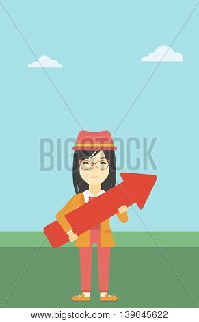 An asian  young business woman holding a big arrow in hands. Successful business concept. Vector flat design illustration. Vertical layout.