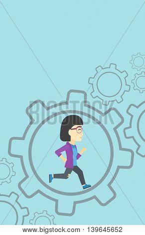 An asian  young business woman running inside a big cogwheel on a blue background. Vector flat design illustration. Vertical layout.