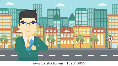 An asian  young businessman putting an envelope in his pocket on a city background. Vector flat design illustration. Horizontal layout.