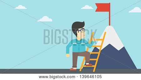 An asian  young businessman standing with ladder near the mountain. Businessman climbing the mountain with a red flag on the top. Vector flat design illustration. Horizontal layout.