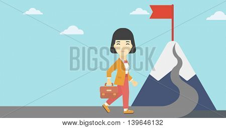 An asian business woman standing at the foot of the mountain. Business woman walking on road leading to flag on the top of the mountain. Vector flat design illustration. Horizontal layout.