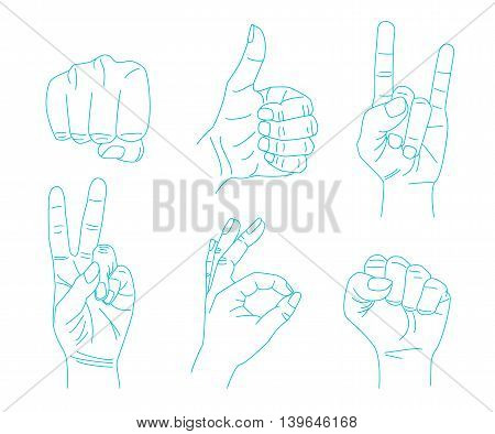 Hand gestures. Set of vector symbols and icons gestures in thin line style