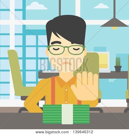 An asian  young businessman sitting at the table in office and moving dollar bills away. Vector flat design illustration. Square layout.