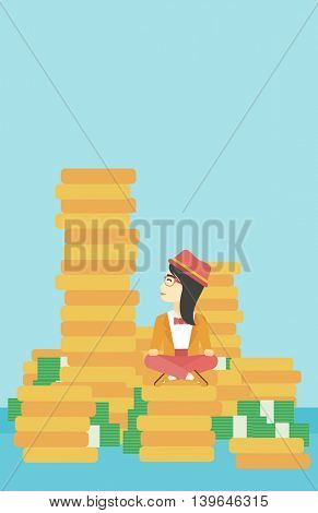 An asian  young business woman sitting on stack of golden coins and looking up to the biggest one. Successful business concept. Vector flat design illustration. Vertical layout.