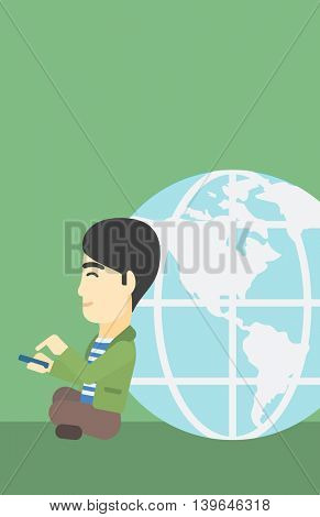 An asian  young businessman sitting near big Earth globe and holding a smartphone in hands. Concept of global business. Vector flat design illustration. Vertical layout.