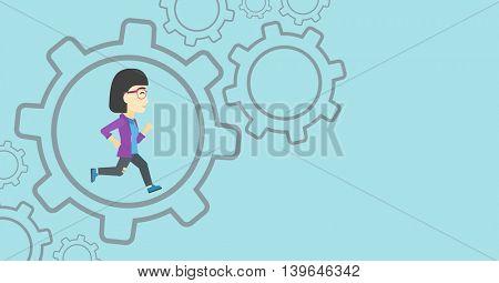 An asian  young business woman running inside a big cogwheel on a blue background. Vector flat design illustration. Horizontal layout.