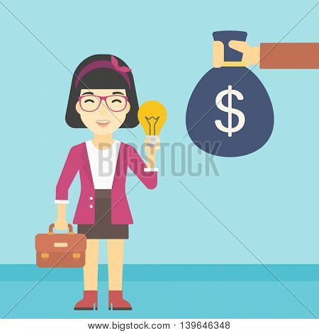 An asian young happy business woman with briefcase exchanging her idea bulb to money bag. Successful business idea concept. Vector flat design illustration. Square layout.