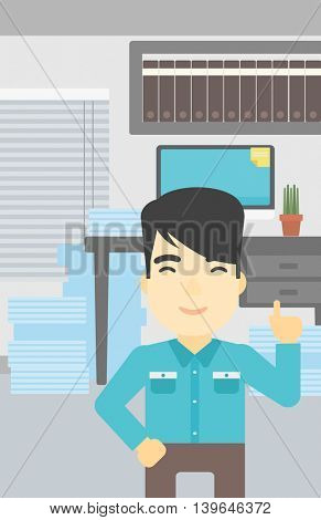 An asian young happy businessman standing in the office and pointing up with his forefinger. Business idea concept. Vector flat design illustration. Vertical layout.