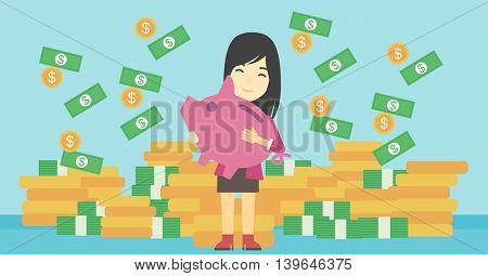 An asian young business woman holding a big piggy bank in hands under money rain on the background of stacks of golden coins. Vector flat design illustration. Horizontal layout.