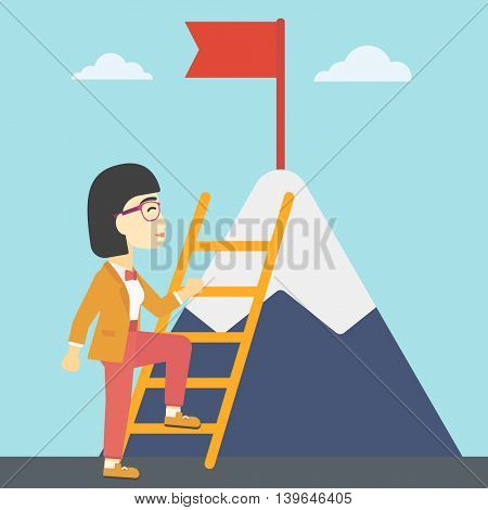 An asian business woman standing with ladder near the mountain. Business woman climbing the mountain with a red flag on the top. Vector flat design illustration. Square layout.