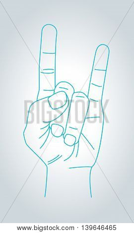 Devil horns gesture. Metal Hand in thin line style. Rock n roll sign. Vector illustration.