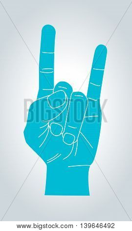 Devil horns gesture. Metal Hand silhouette. Rock n roll sign. Vector illustration.