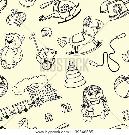 Doodle seamles pattern with toys for children