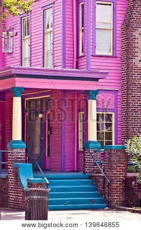 pink Southern Mansion in charlston in antebellum style