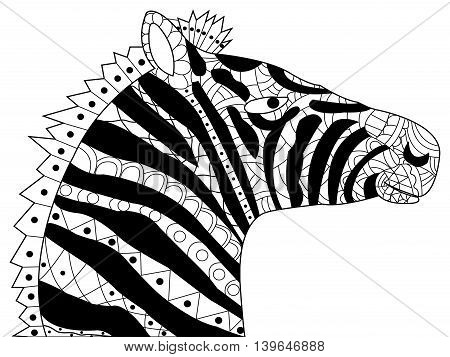 Head zebra coloring book for adults vector illustration. Anti-stress coloring for adult. Horse zentangle style. Black and white lines. Lace pattern