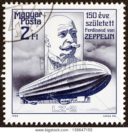 HUNGARY - CIRCA 1988: A stamp printed in Hungary issued for the 150th birth anniversary of Ferdinand von Zeppelin shows Zeppelin and Airship LZ-2, circa 1988.