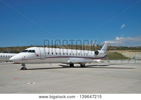 Gelendzhik Russia - September 10 2010: Canadair CL-600 Challenger 850 parked on the apron of the airport