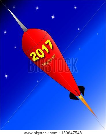 A retro look rocket ship with the message 'Happy New Year - 2017'.