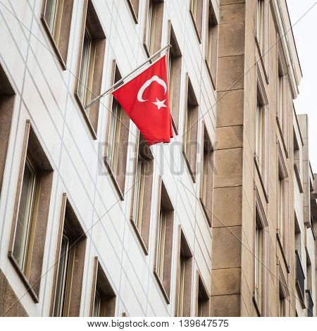 Turkish flag outside the Consulate of Turkey in Milan Italy