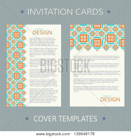 Set of two vector cards. Bright design vector template. Invitation template cards. Vector card template with ethnic ornament. Vector invitation templates. Vector templates for book or album cover.
