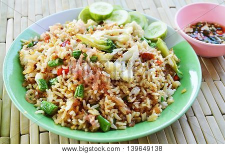fried rice with fermented pork and vegetable on dish