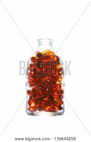 Bottle With Gelatin Capsules On White
