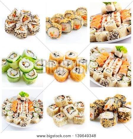 Different Sushi And Rolls Assortment