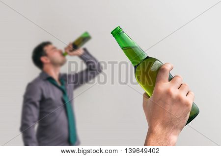 Unfocused Man Drinking Alcohol