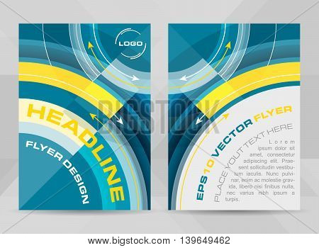 Flyer template A4 size. Brochure corporate banner or cover design with circular pattern. Vector illustration.