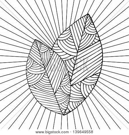 Adult coloring book page design with a picture of a leaf. Coloring book page for adult. Vector illustration in the style of zentangle, doodle, ethnic, tribal design.