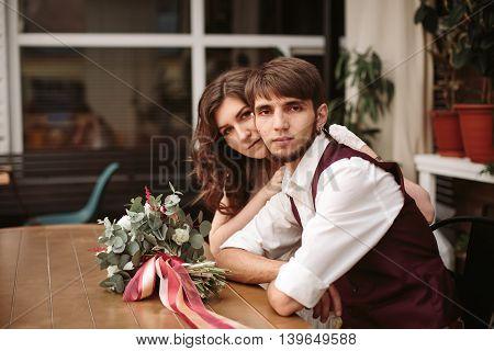 Stylish Loving Multinational Wedding Couple