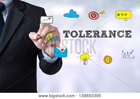 Businessman drawing Landing Page TOLERANCE CONCEPT man hand
