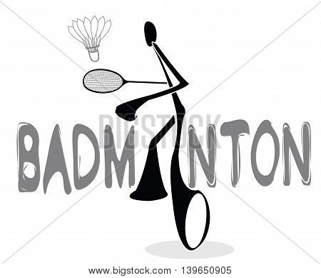 Badminton Shadow Man Cartoon sport acting symbol mono tone color design
