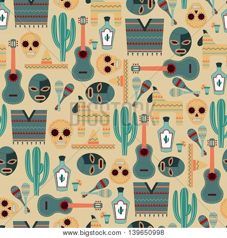 Vector Seamless Background with Mexican Elements / Mexico Seamless Pattern