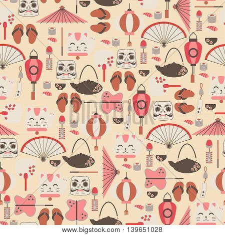 Vector Seamless Background with Japan Elements / Seamless Pattern with Asian Icons