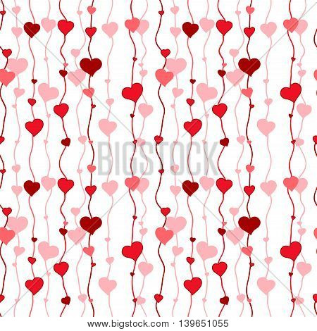 Red hearts seamless wallpaper. Love endless vector pattern.